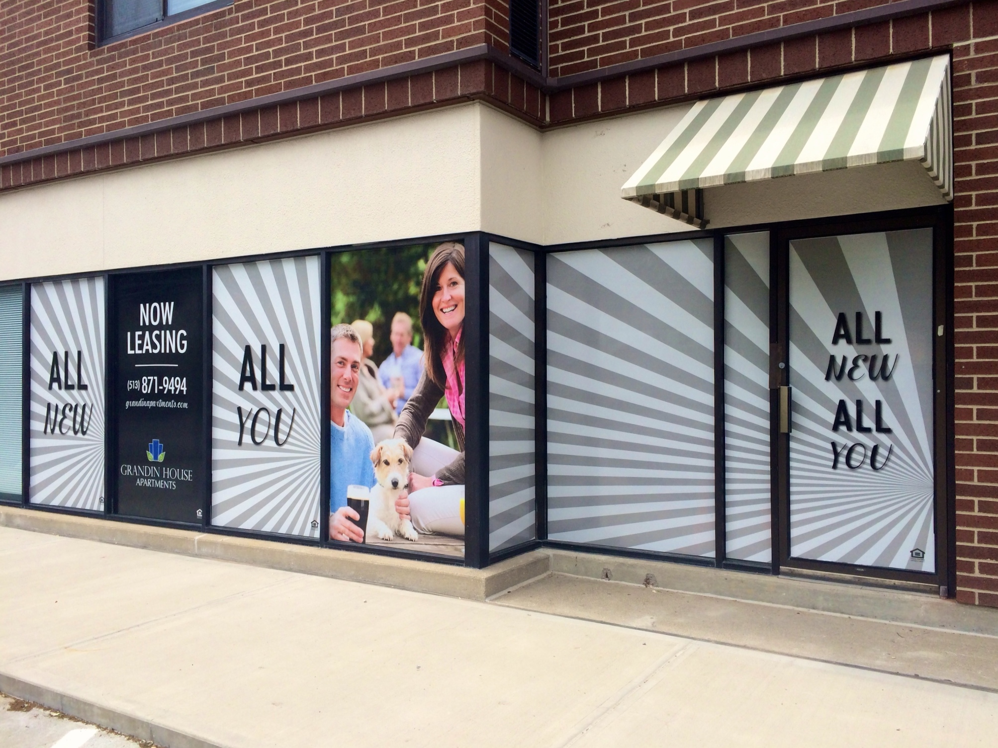Digitally printed window graphics for Grandin House Apartments in Cincinnati, OH