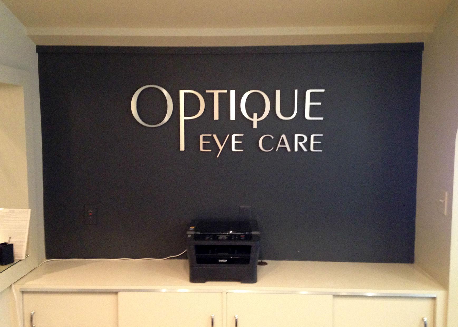 Interior Reception Wall Logo for Optique Eye Care