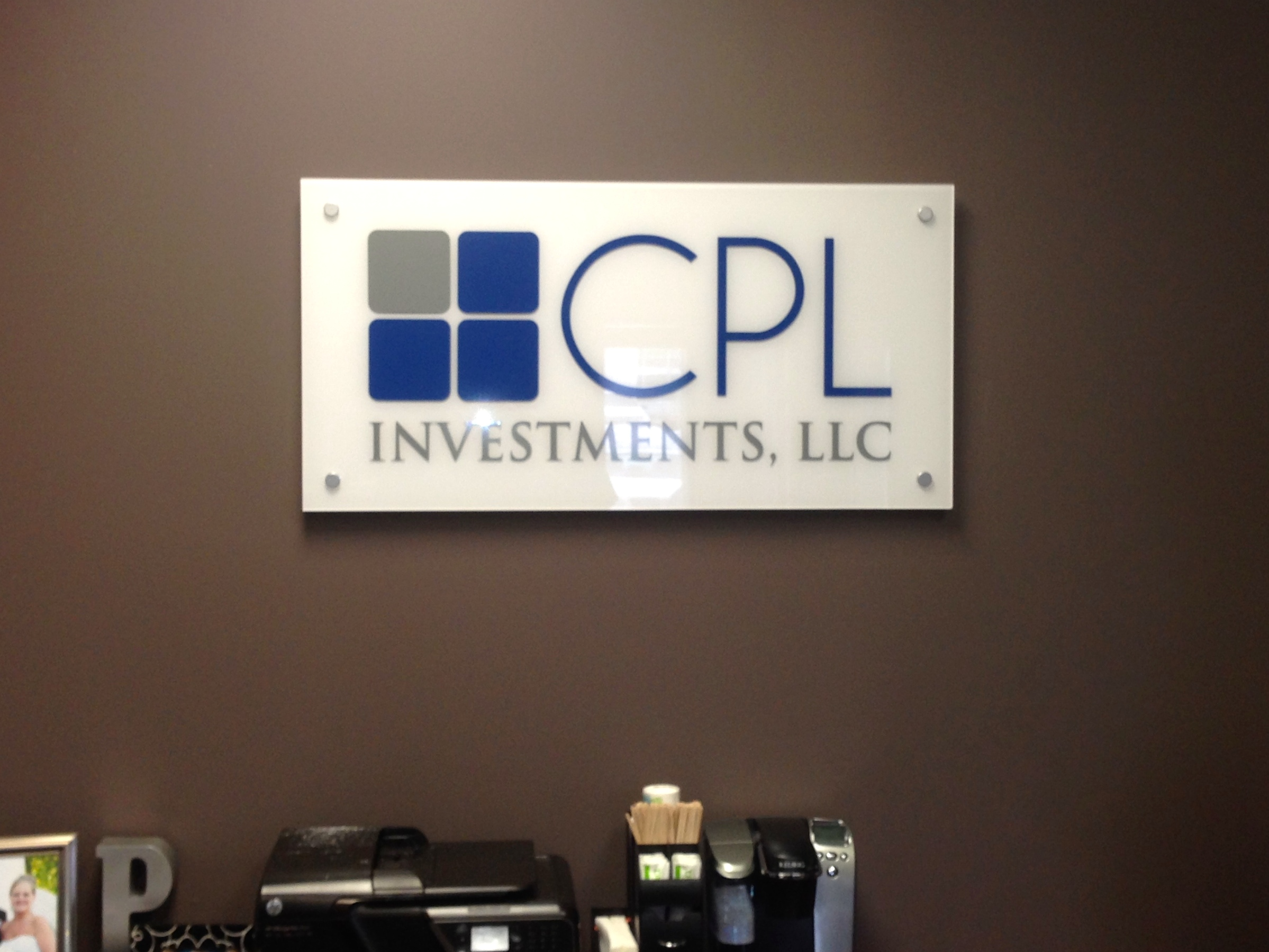 Interior Reception Wall Logo for CPL Investments, LLC