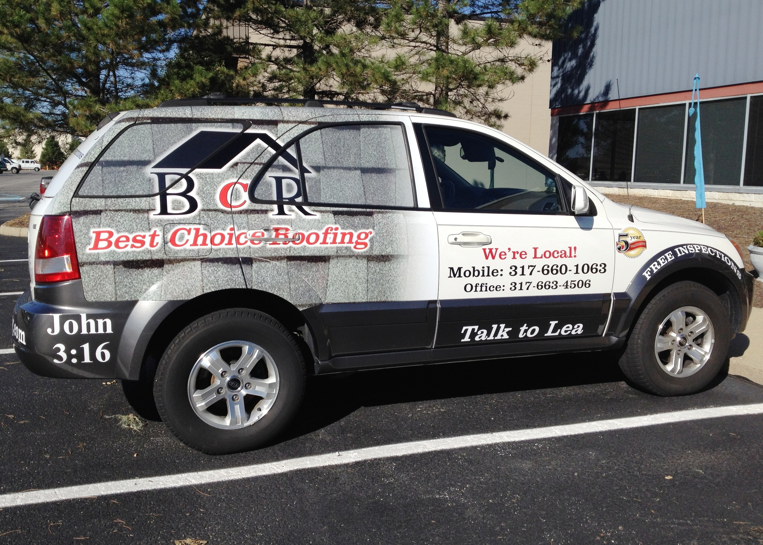Partial Digitally Printed Car Wrap for Best Choice Roofing