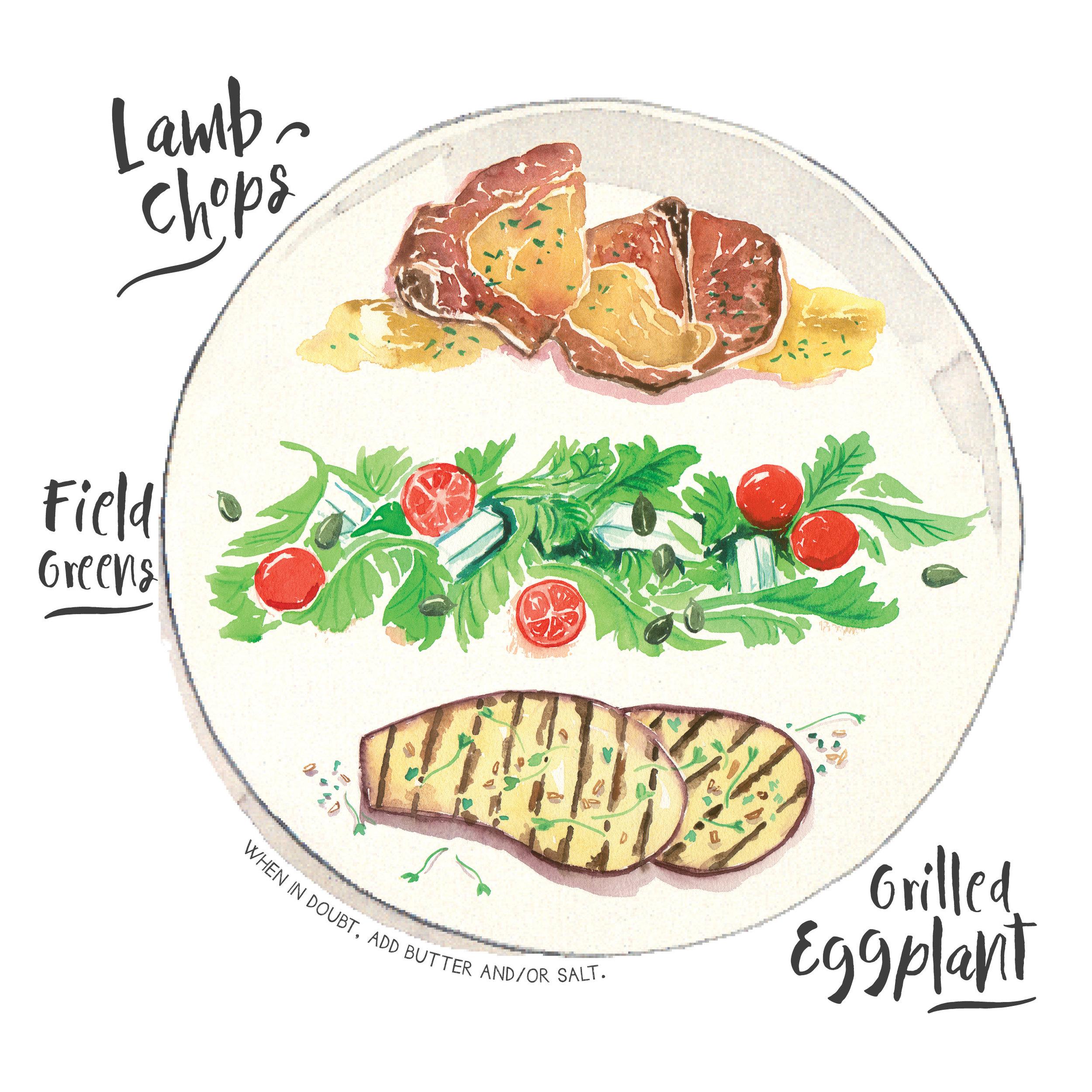 lamb chops field greens eggplant.jpg