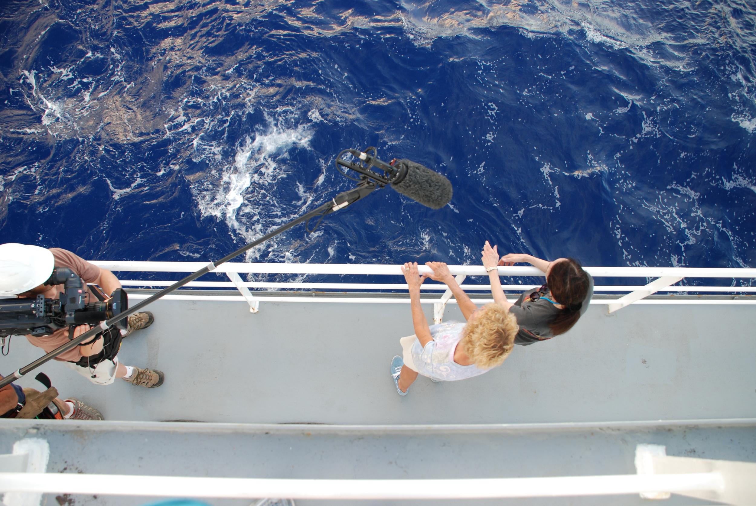 Film crews an a research cruise