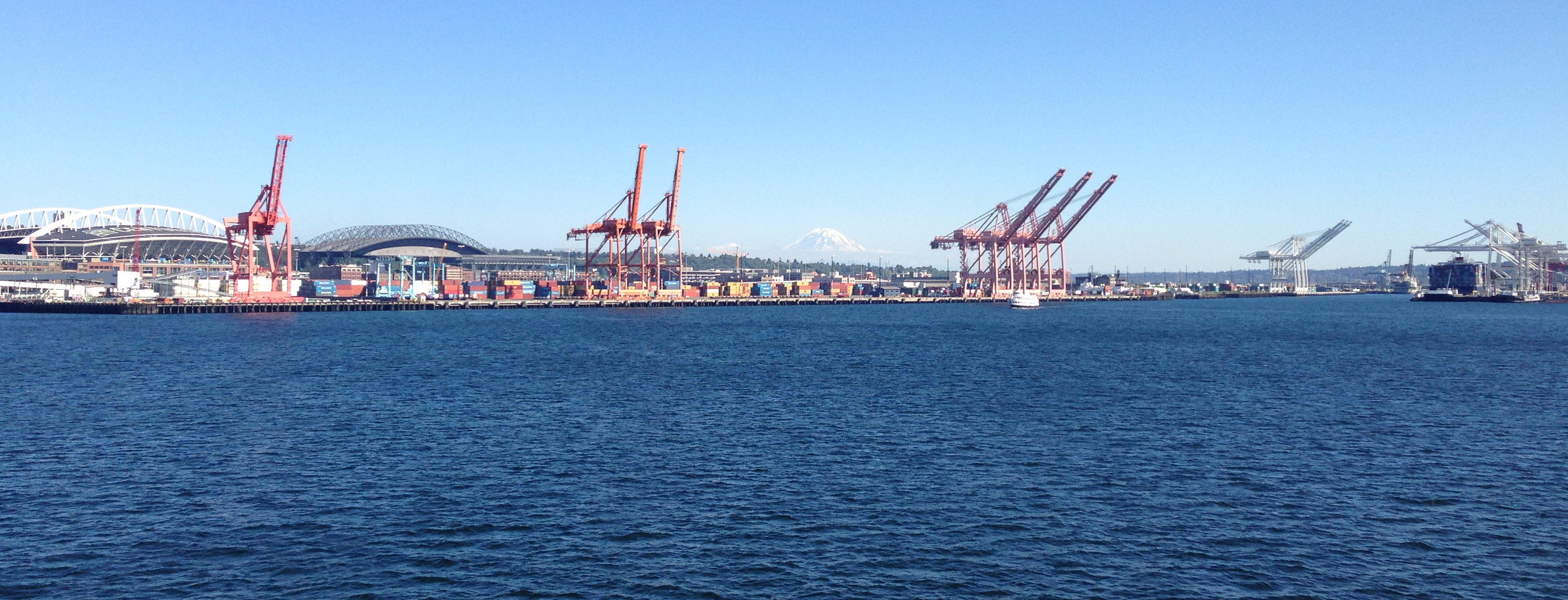 The Port of Seattle, captured on a stunning summer day from a Washington State Ferry.  Ports like this one and hundreds of others like it in the US are susceptible to invasive species that arrive in the ballast water of cargo ships.     (Photo Credit: Ellie Bors)