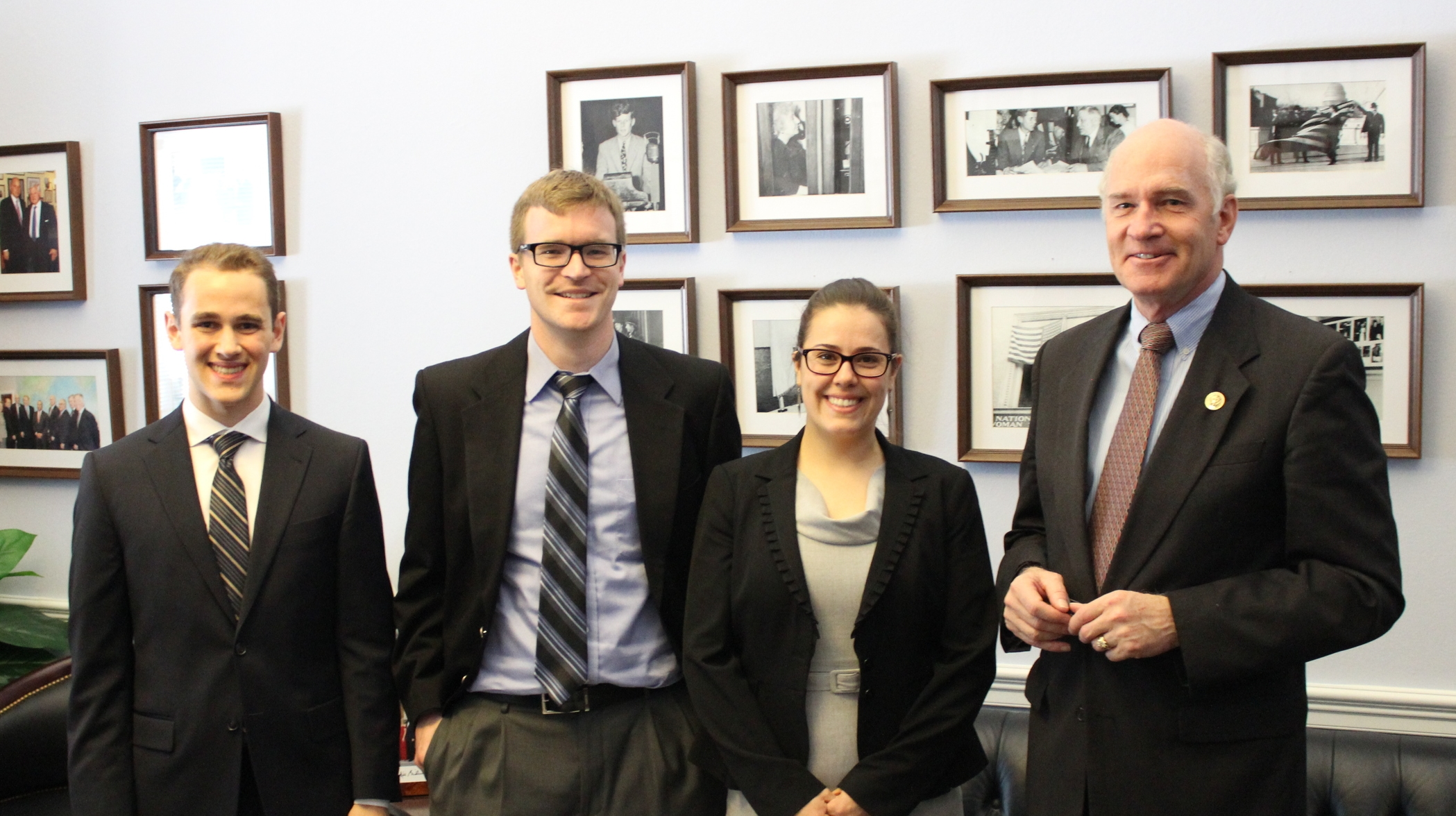From left to right: Zane Markel, Scott Grindy, Ellie Bors, Representative Bill Keating.
