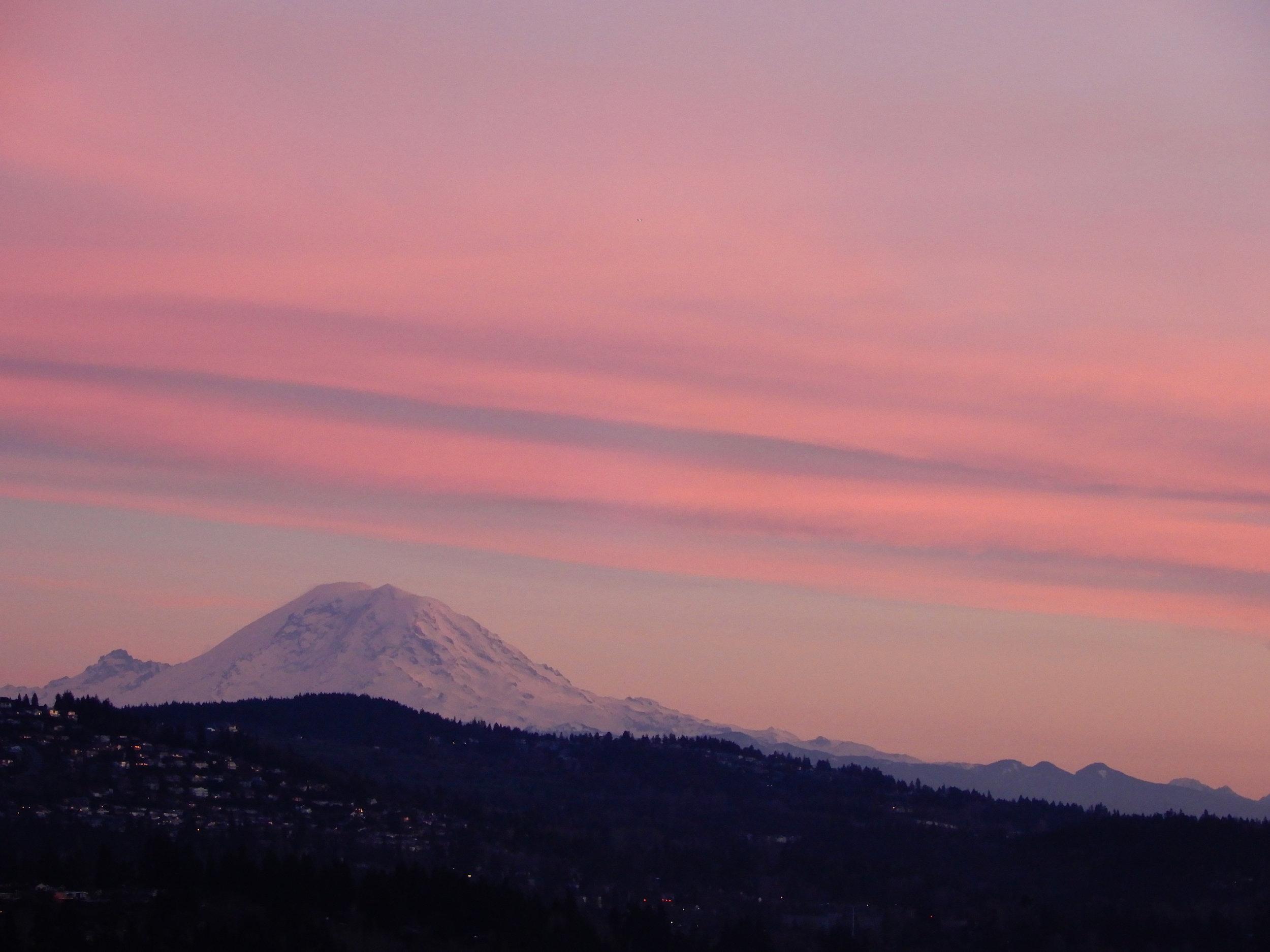 A Pacific Northwest treat: Mt. Ranier at sunset.  (Photo Credit: Douglas Bors)