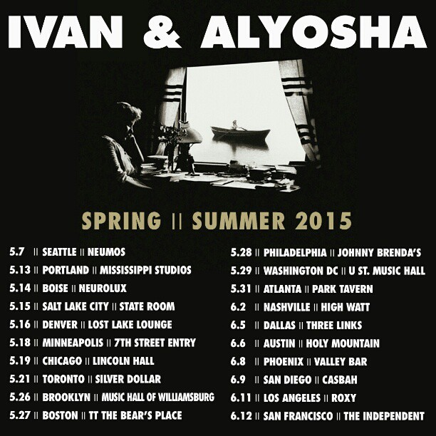 "Exciting news! We'll be on the road in May and June in support of our new record ""It's All Just Pretend""! Ticket link below, most shows on sale today, get 'em while you can!     www.bandsintown.com/IvanAndAlyosha"
