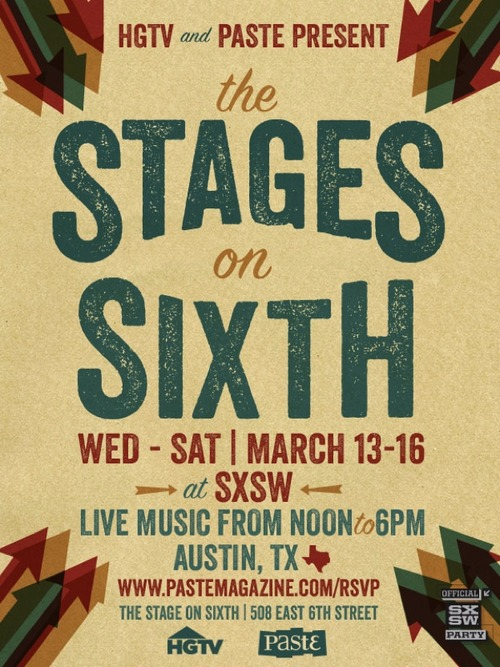 This afternoon we are playing at the Paste Day Party at the Stage on Sixth, 508 E. 6th St., at 3:30pm!