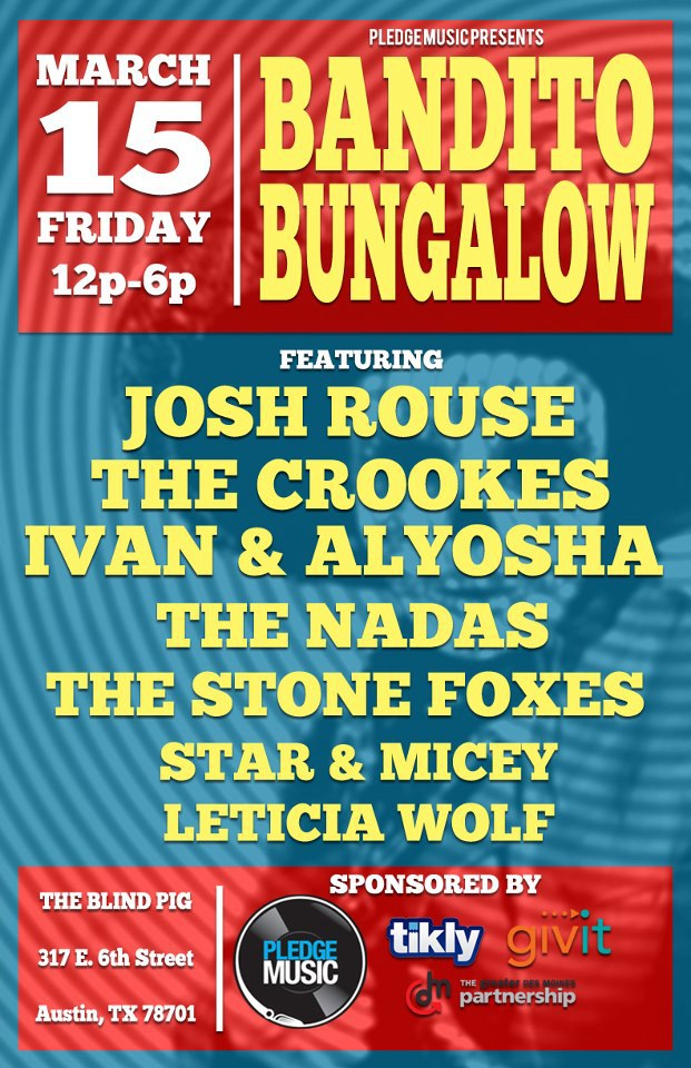 Today at SXSW we'll be playing at the PledgeMusic Showcase at the Blind Pig, 317 E. 6th St., at 2pm!