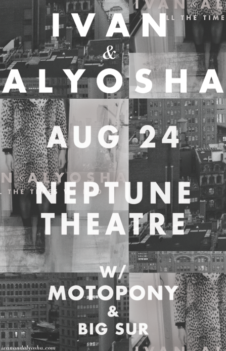 I&A Friday August 24th at The Neptune!!!    w/ Motopony + Big Sur + Special Guests TBA    All Ages / Bar w/ ID    $12 pre-sale, $14 at door    Tickets:   http://stgpresents.org/artists/?artist=1996