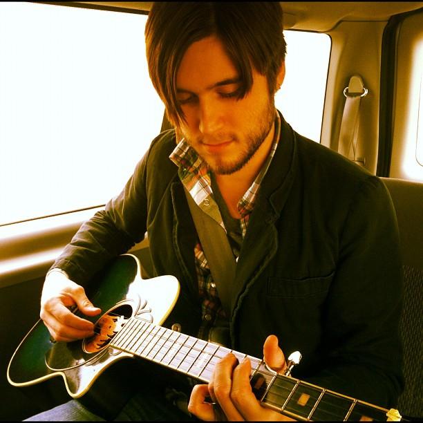 Josh Ottum's banjo guitar (Taken with  instagram )