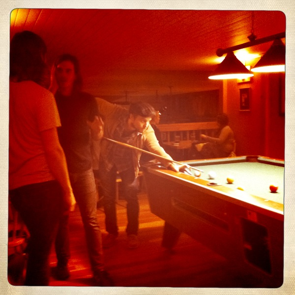 Playing Pool At The Axe And Fiddle  Kaimal Mark II Lens, Ina's 1969 Film, No Flash, Taken with  Hipstamatic