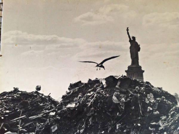 Shavitz's photojournalism—such as this shot of the Statue of Liberty rising from trash—helped stoke the public's eco-awareness
