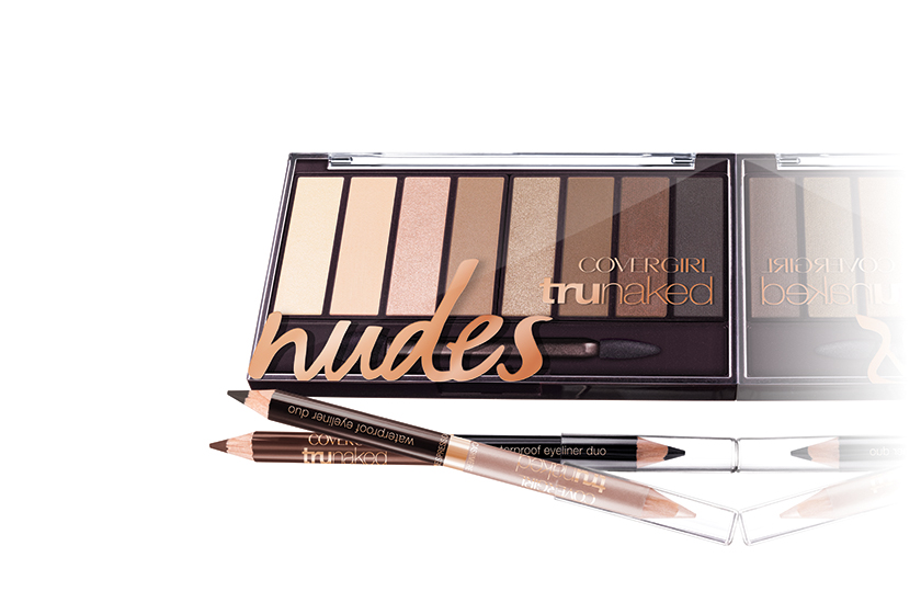 CoverGirl TruNaked Shadow Palette in Nudes, $13, and TruNaked Waterproof Eyeliner Duo, $13 each, at drugstores