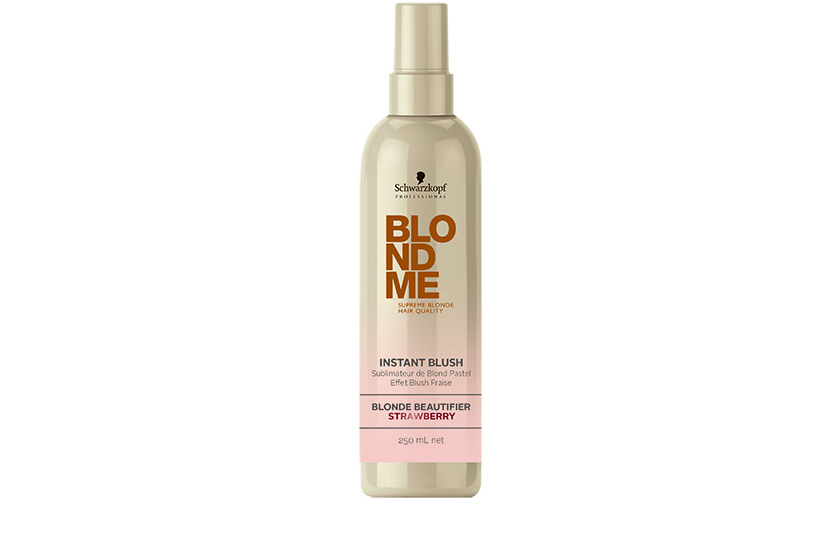 Schwarzkopf Professional BlondMe Instant Blush is a spray-on pastel for blondes that lasts up to three shampoos.  $20, available June at salons