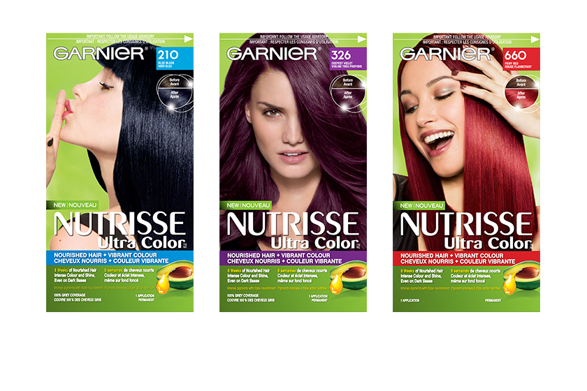 Garnier Nutrisse Ultra Color's 21-shade range offers vibrant colour payoff, while a blend of avocado, olive and shea oils nourishes and protects hair.  $11 each, at drugstores