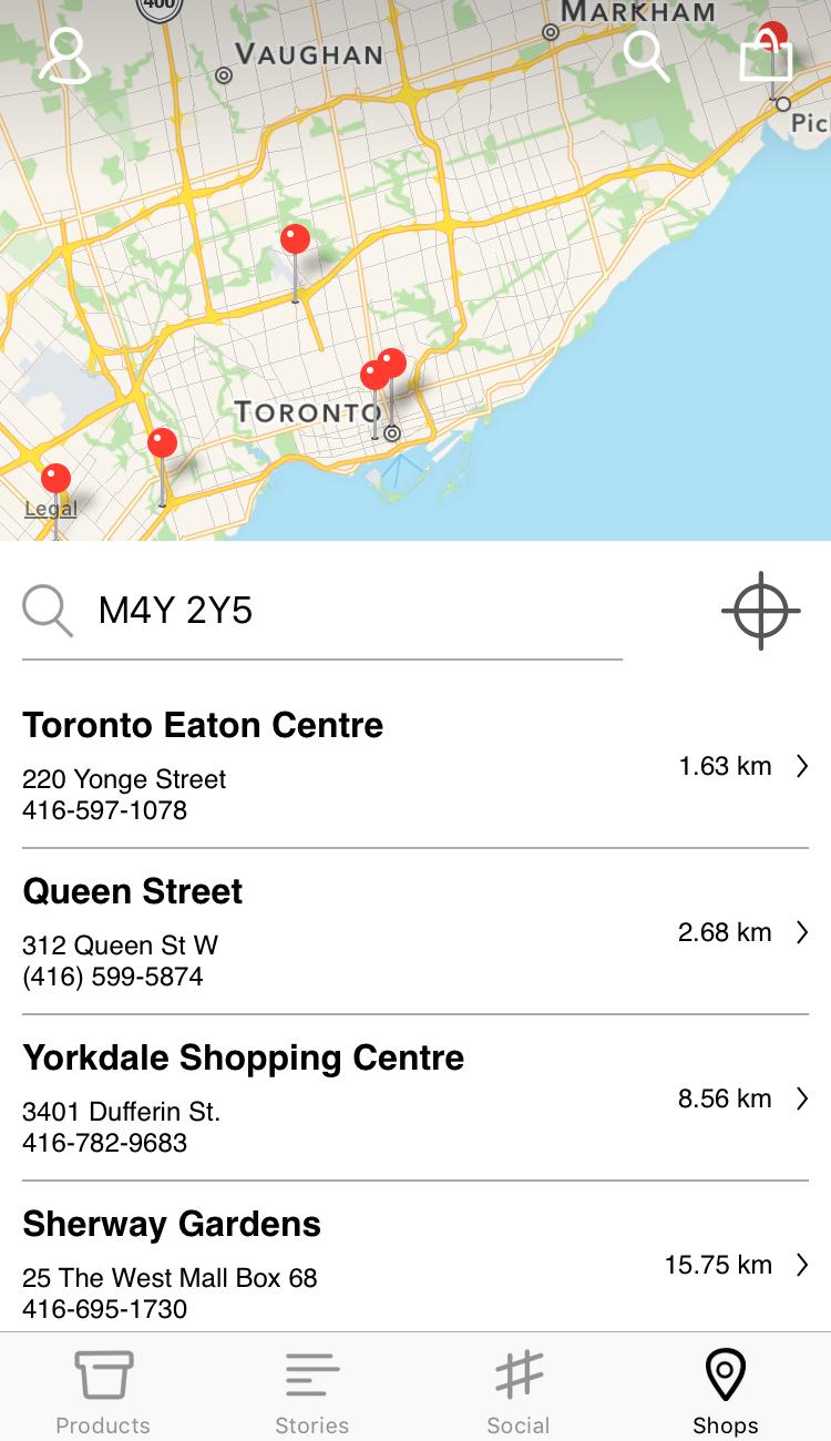 Screenshot from the Lush app