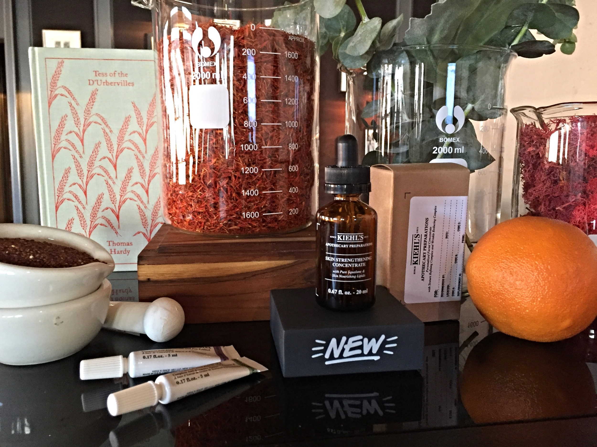 Kiehl's Apothecary Preparations, on display at the Toronto press launch