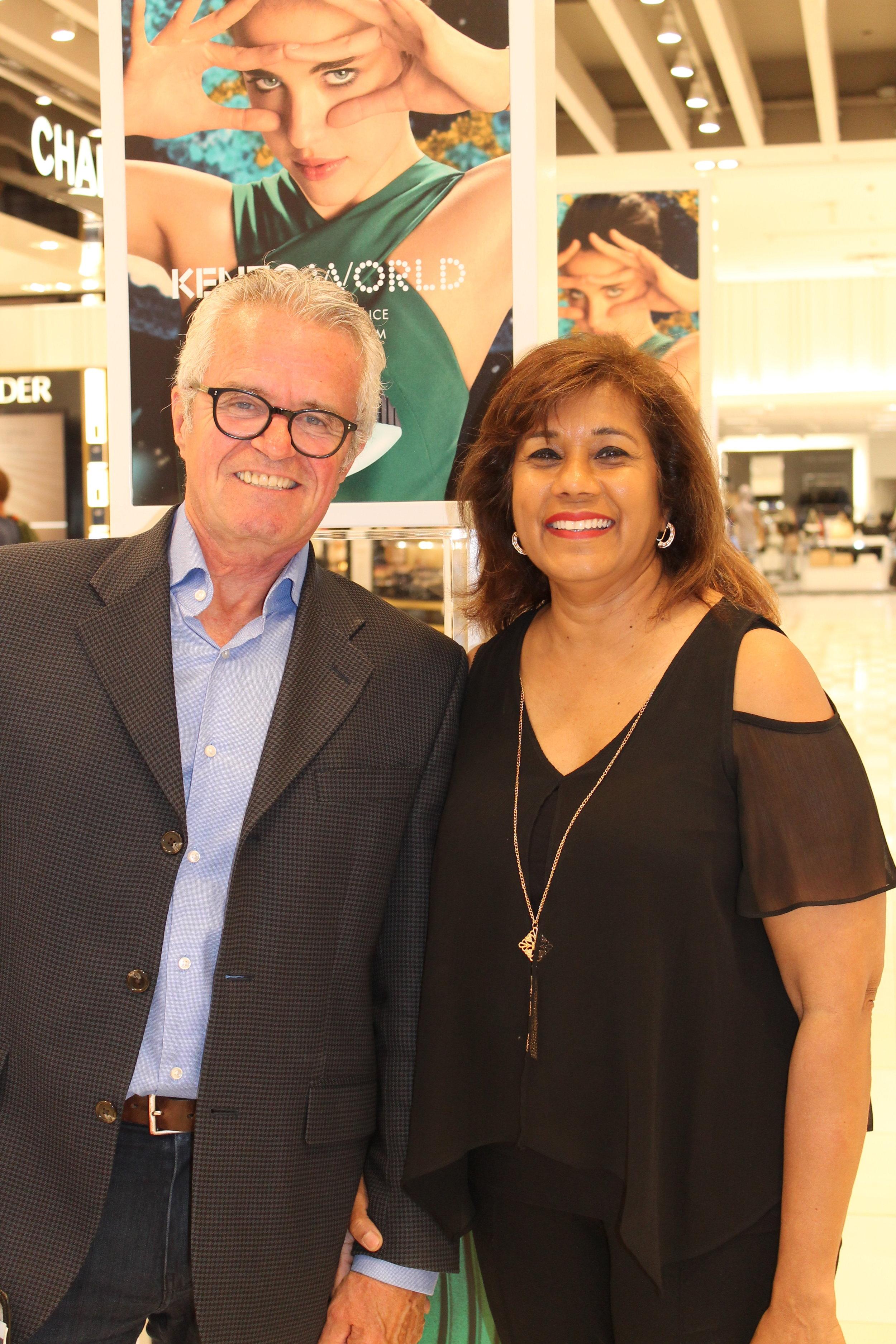 Jim Hicks with previous COSA winner Seeta Samaroo, Givenchy/Kenzo selling specialist at Hudson's Bay Sherway Gardens.