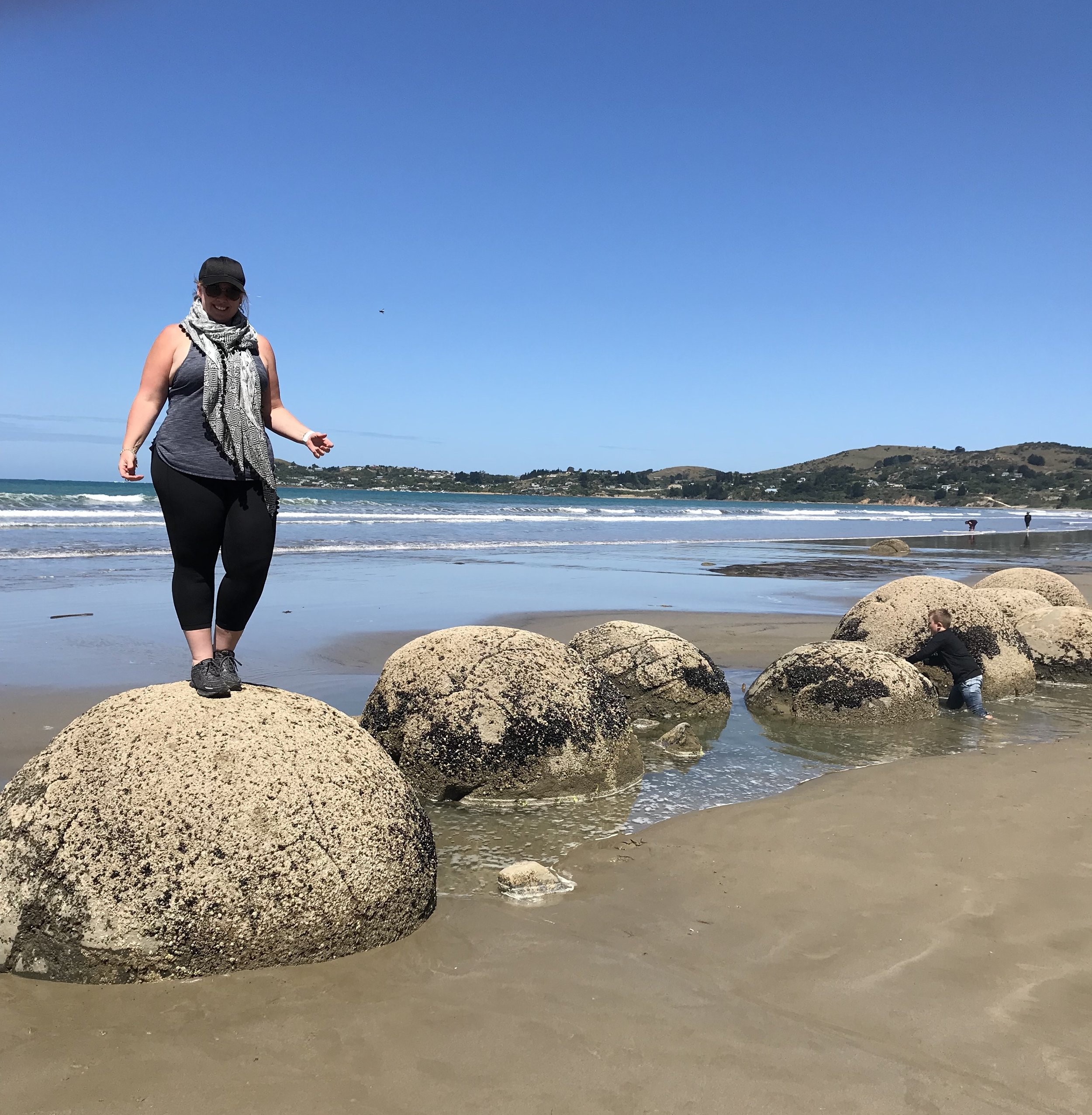 Just hanging about on the wonders that are the Moeraki Boulders, South Island of New Zealand.