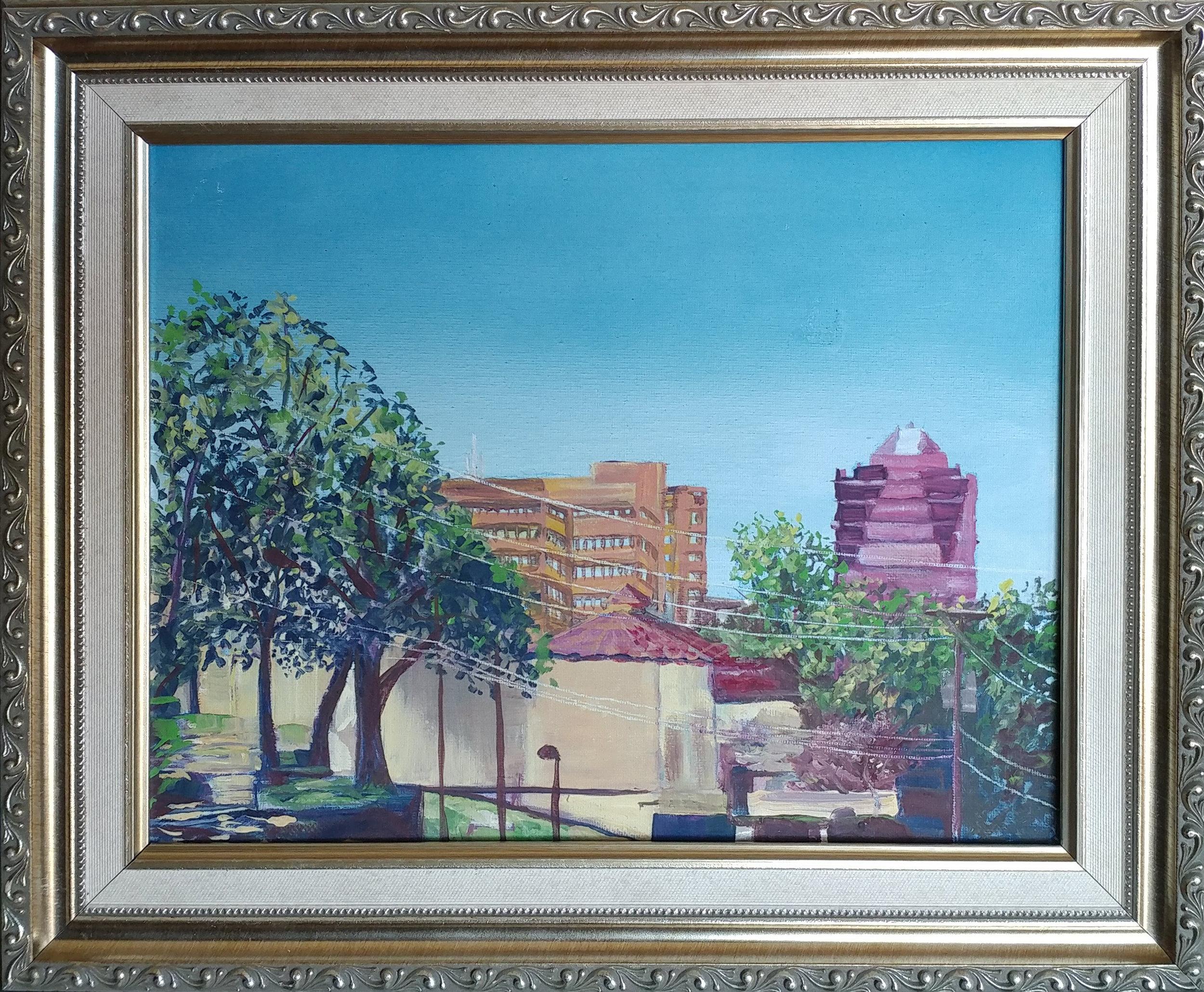 Westport plein air- Westport looking toward main street. Casein on 11X14 canvass, frame is 18x15 inch.