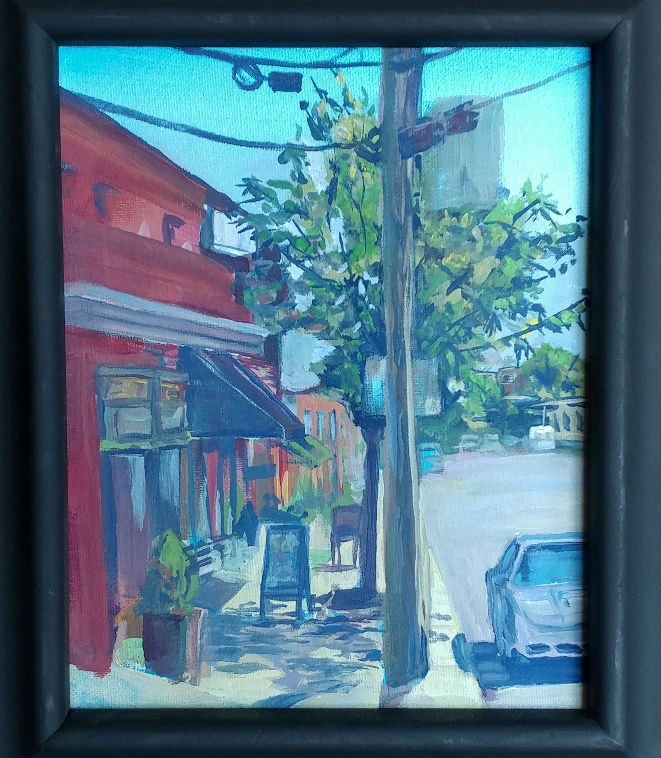 Westport plein air- Westport Creative Cold Snow Art store. Casein on 8X10 canvass.