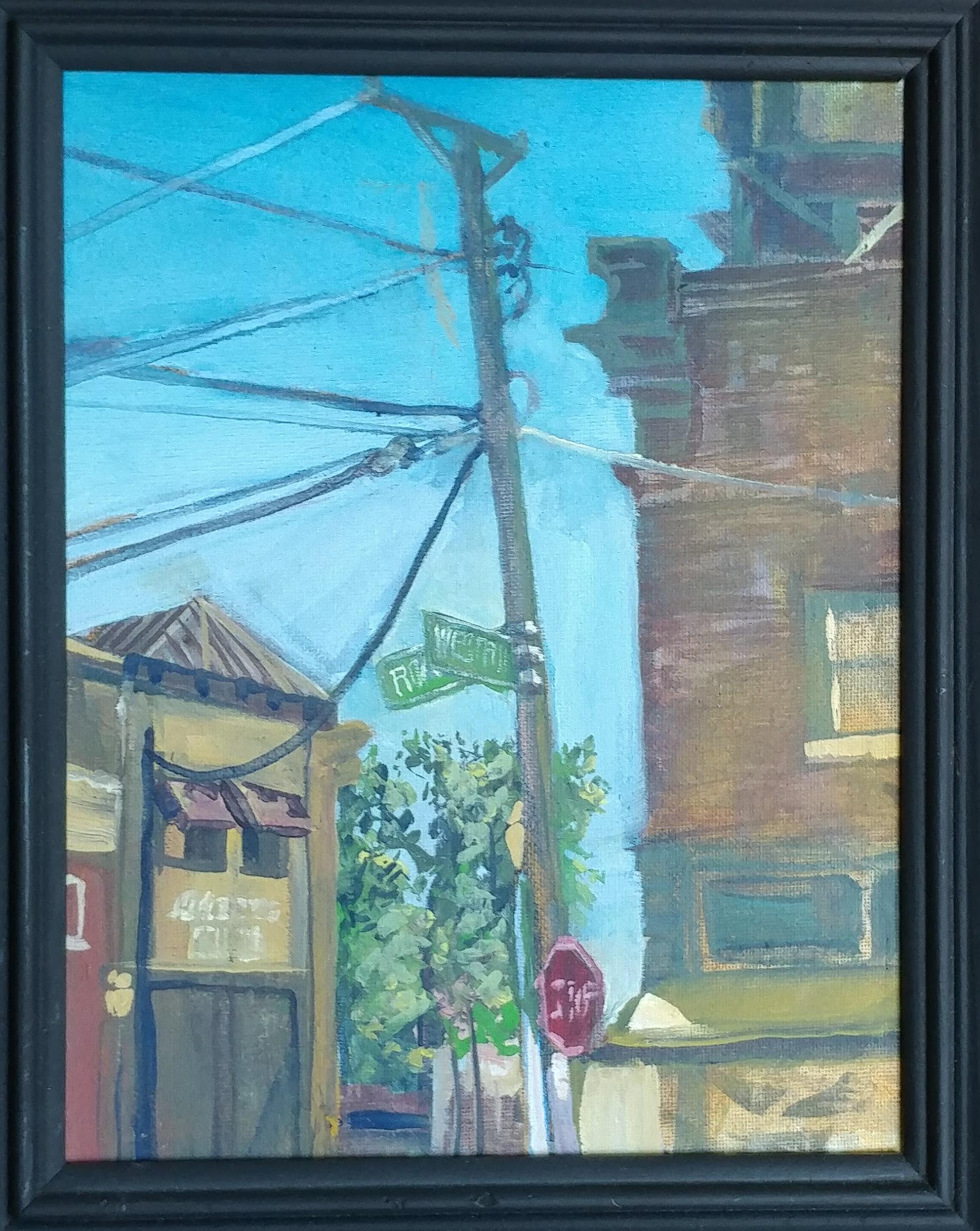 Westport plien air- Westport Road and Roenoke. Casein on 8X10 canvass.