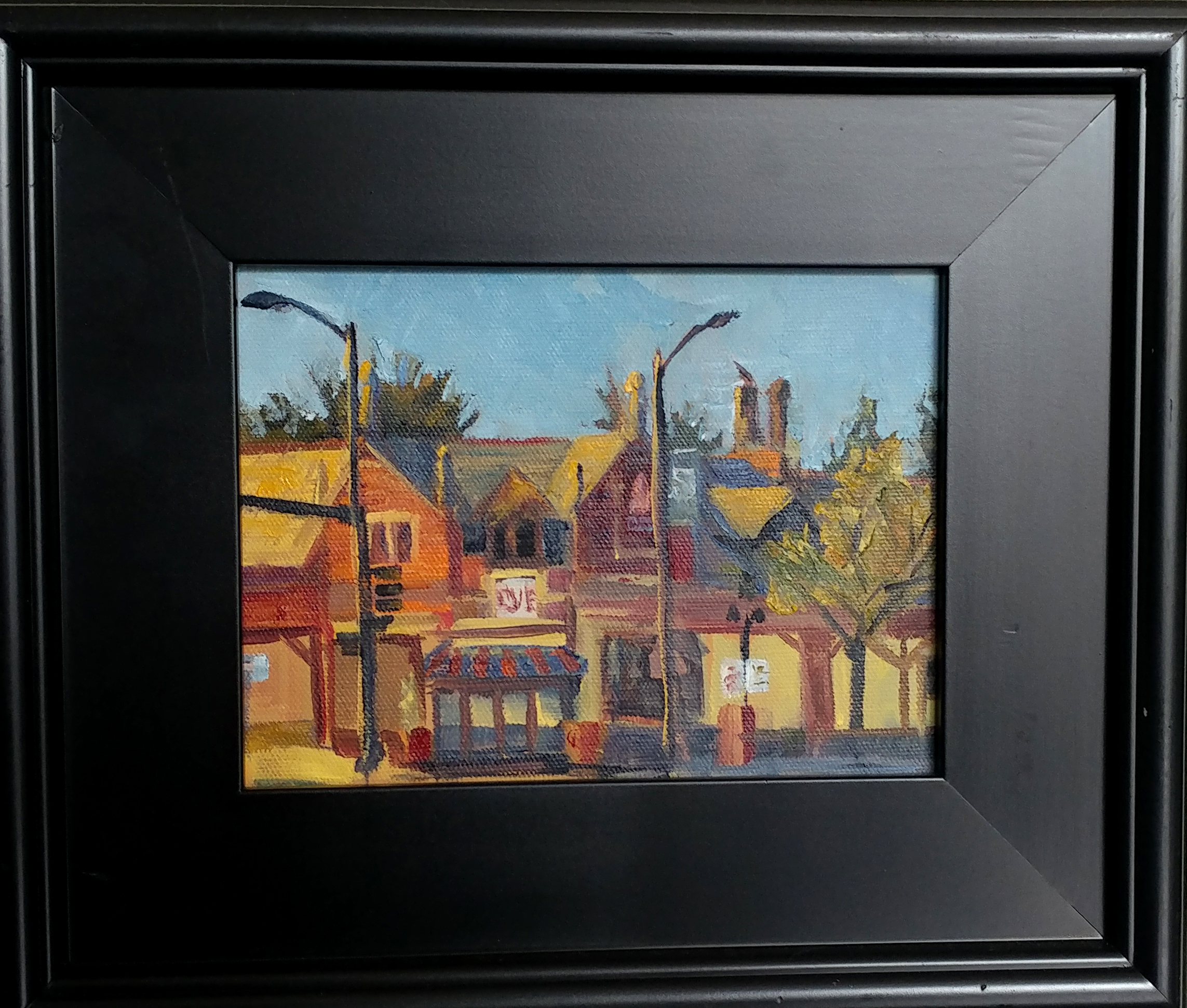 Brookside plein air- 63rd and Brookside road. 6X8 oil on board with 11X14 mahogany frame.