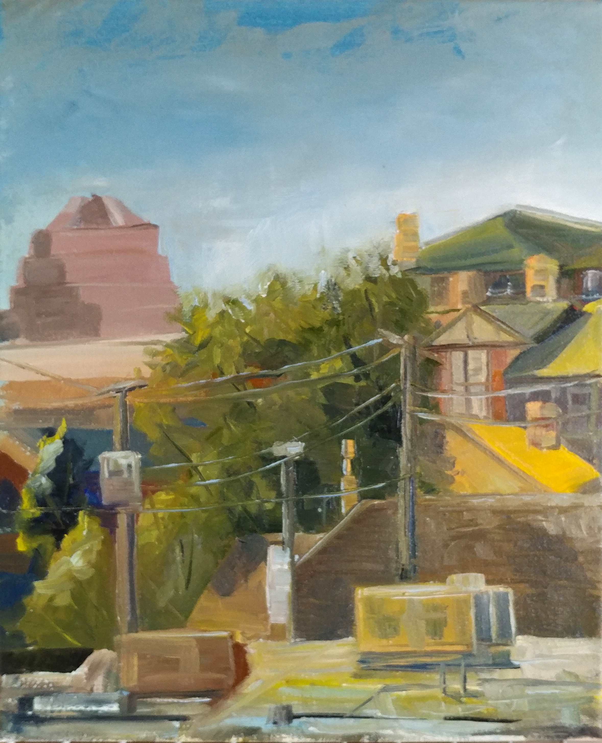 Westport plein air- Hot Summer Morning on Clark Ave KCMO. 11X14 oil on stretched canvass.