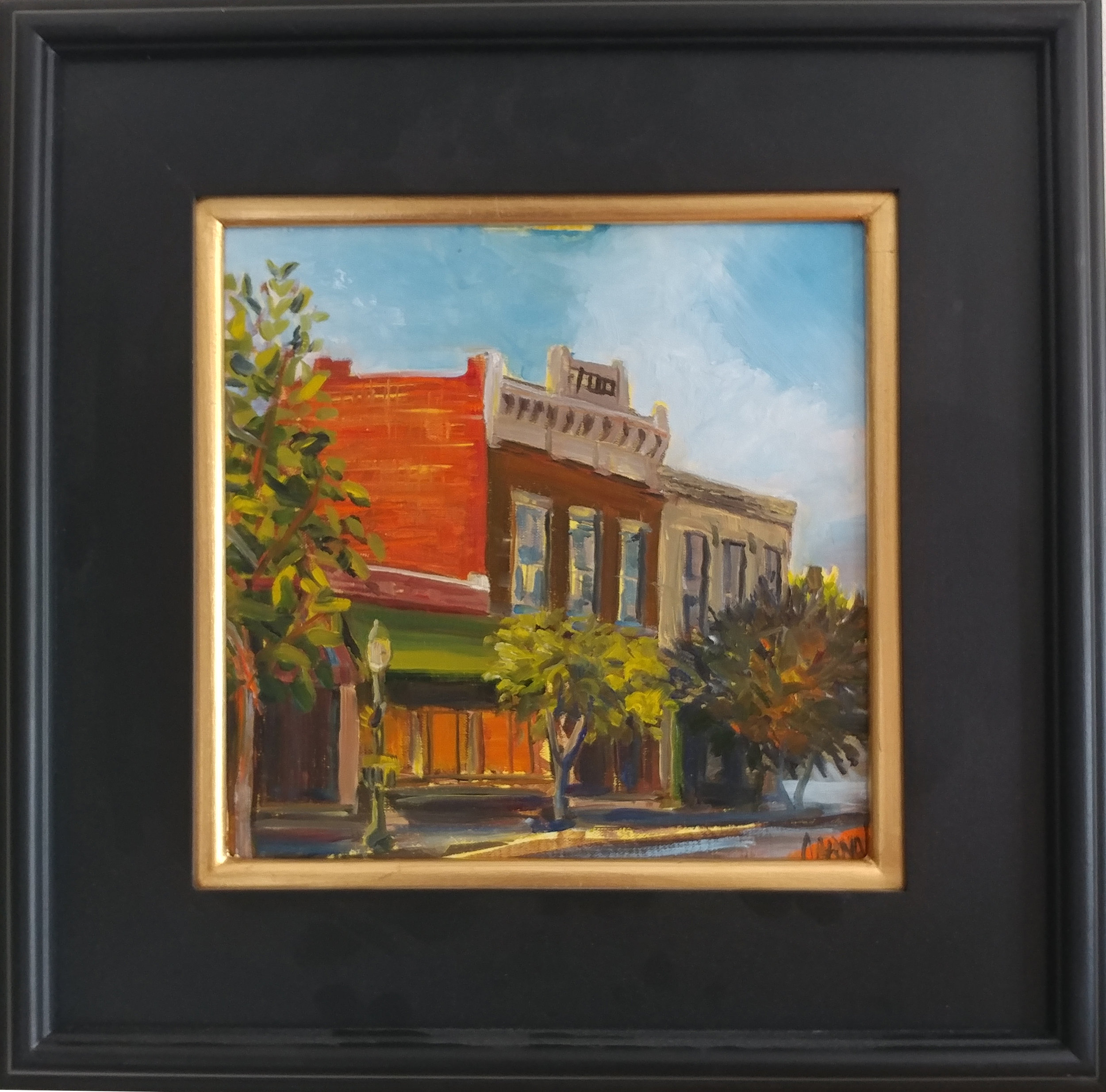 Tonganoxie plein air- Evans Building Westward. 10X10 oil on board, with 10X110 mahogany frame.