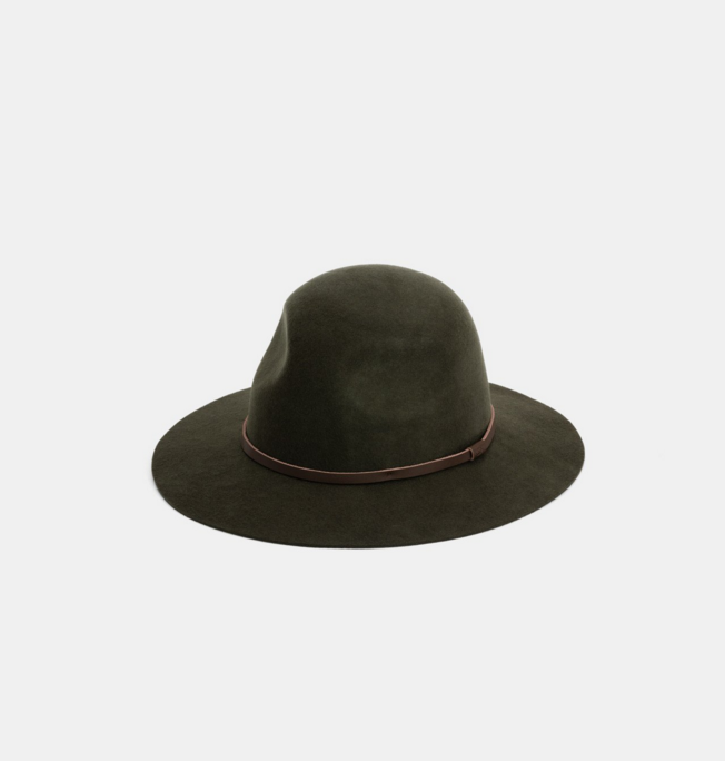 Wesley Green $99   Wesley is the original olive green scout hat with a wide brim and rounded crown  100% Australian wool  Natural Leather Accessory  Natural Cotton Sweatband  Brim width 7cm