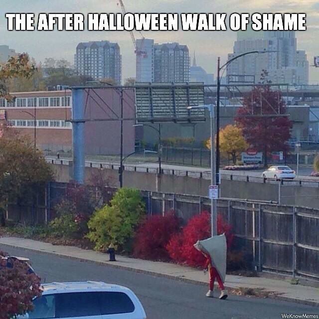 When you dress as #pizza for #Halloween - be ready for that walk home in the morning!