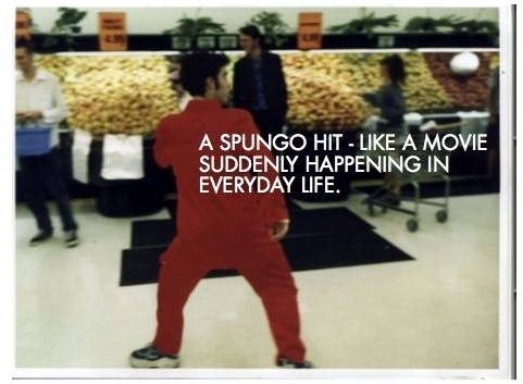 The Spungo Chief jitting into Wellington New World super market for a Spungo hit in early 1999. This hit was later re-enacted for BBC World. Photo: Meek Zuiderweik.