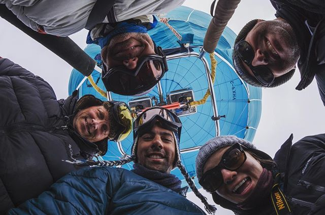 Team Huddle! This gang sure knows how to have a good time.  Join us for some laughs in Spring 2020! #hotairballoon#baffinsafari #destinationnunavut