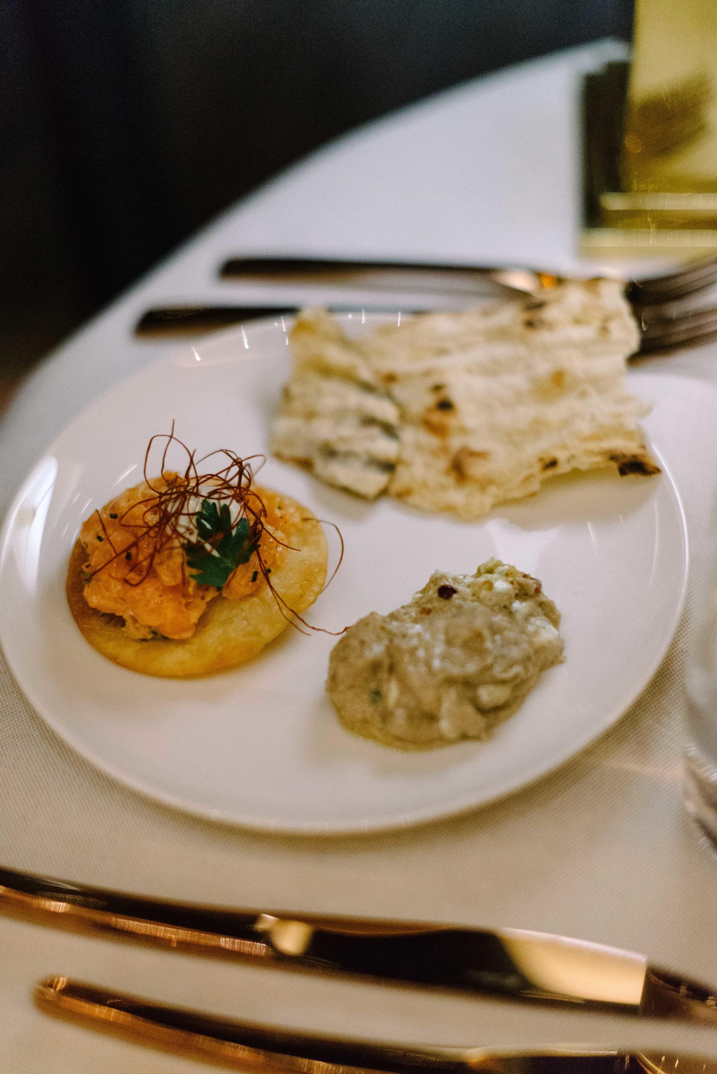 Tuna tostada, smoked eggplant and grilled flatbread