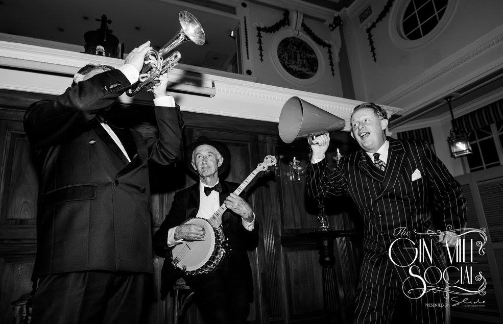 Greg Poppleton 1920s jazz trio: Greg Poppleton megaphone, Paul Baker banjo, Geoff Power cornet doubling sousaphone