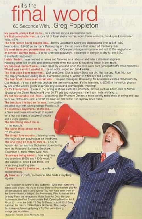 Inside back page interview in Antiques and Collectibles