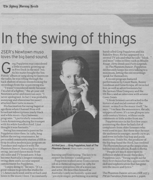 Metro interview in the Sydney Morning Herald