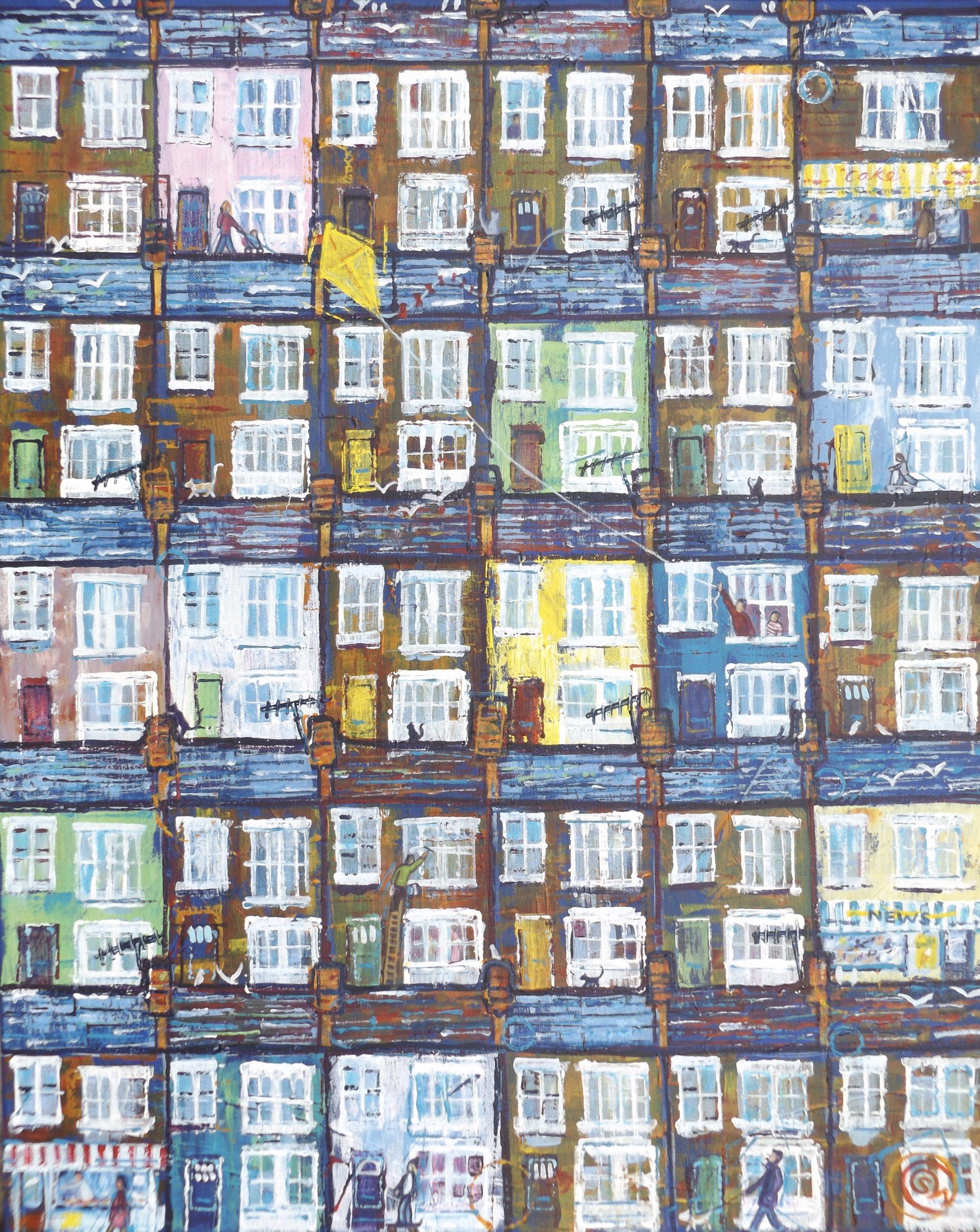 'Flight of Fantasy' Acrylic on canvas (61cm x 46cm) urban life in a seaside town