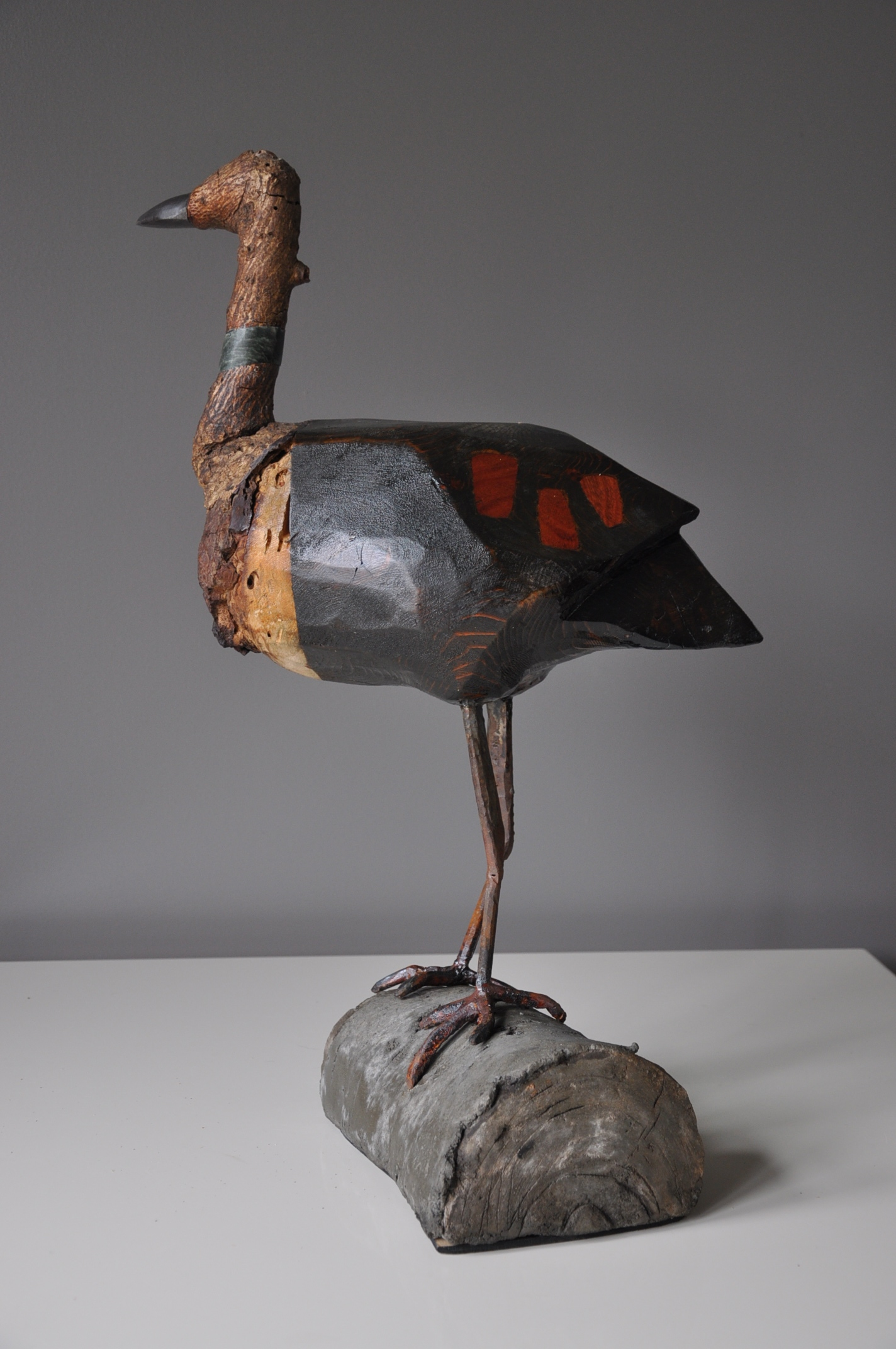 """Moorhen"" 36"" x 20"" x 20"" wood, stone, steel, ferrocement"