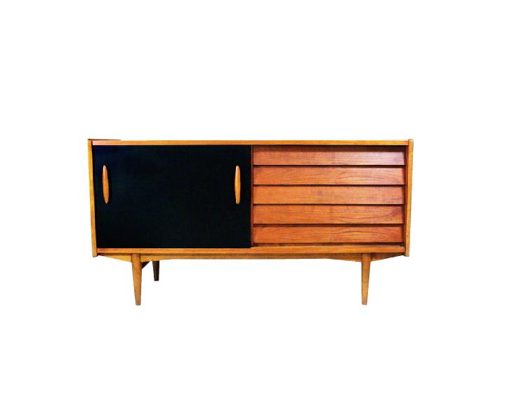 1950s Black Formica and Teak Wood Sideboard