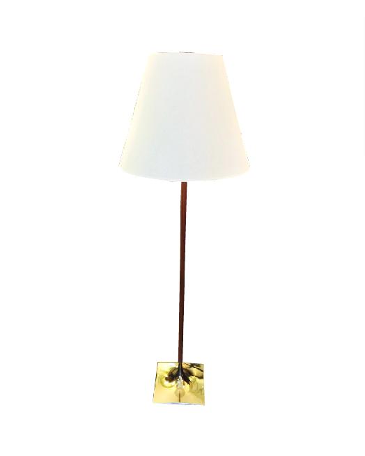 Brass & Walnut Standing Lamp
