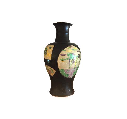 Vintage Asian Motif Ceramic Vase
