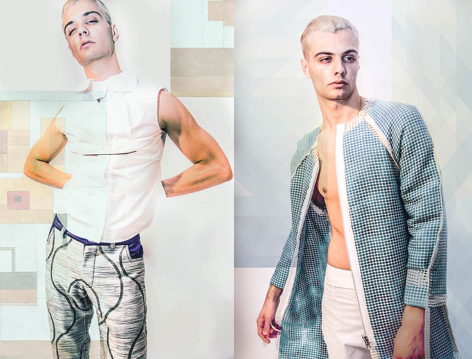 Left: Nathan wears shirt by Helena Bean and trousers by Emma Fenton Villar / Right: Coat by Martin Brambley and trousers by Helena Bean