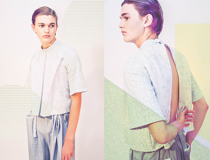 Gabriel wears top and trousers by Nicholas Fellows