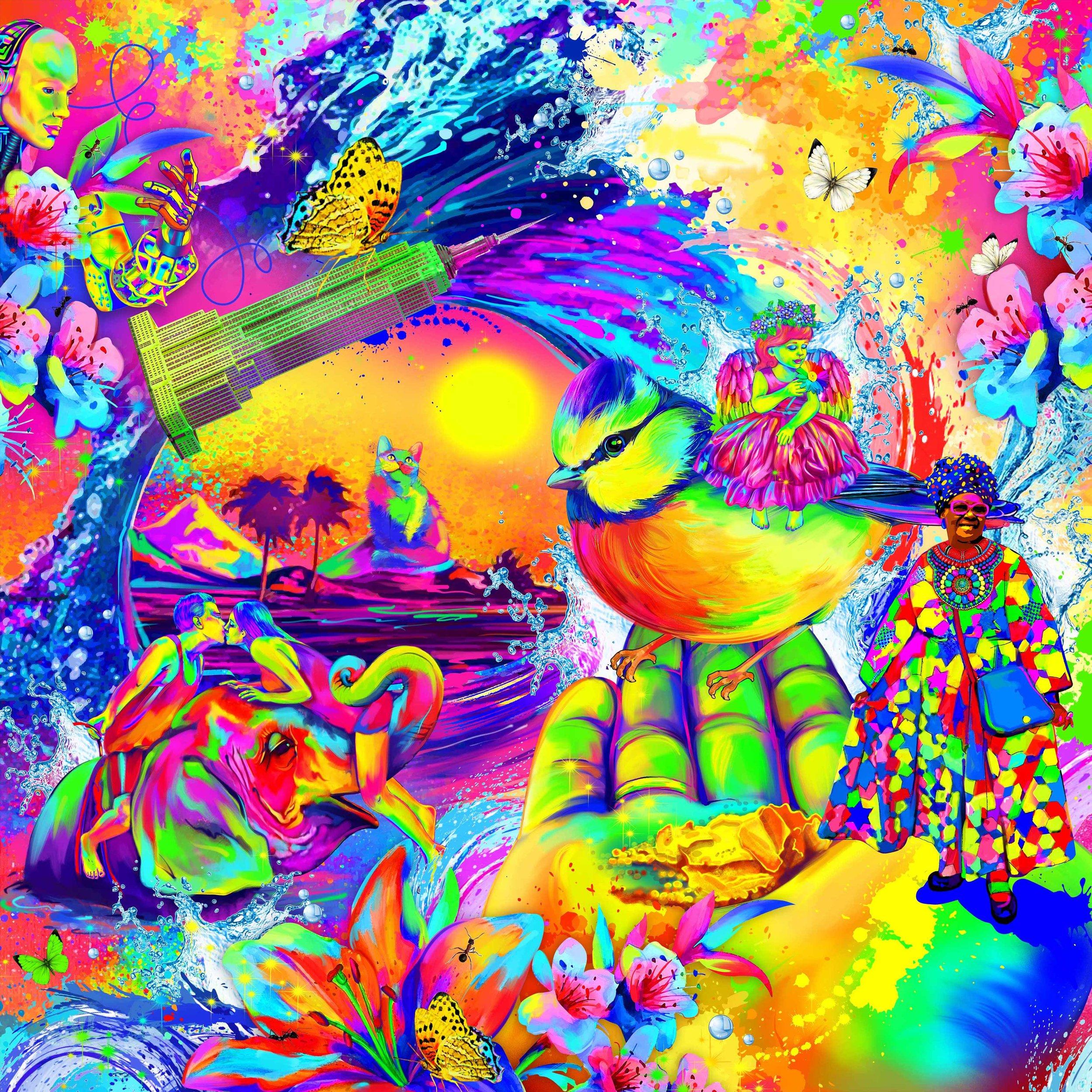 Говоря о картине в целом, стоит поменять оттенки цветов, сделать их еще чуть кислотнее, где-то доработать детализацию (по каждому из элементов отдельно) и убрать обилие цветов. Также исключить повторы (бабочки) и муравьи.