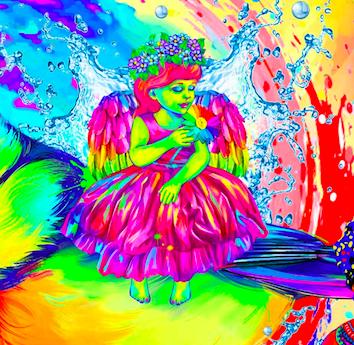 Спящий ангел. - Изменить цвет лица и тела у девочки (также 14 процентов на каждый цвет)Открыть ей глаза, она не спит, она смотрит на окружающий ее мир вокруг.Добавить цвета и придать объемности одежде девочки, крылья, платье также разукрасить.