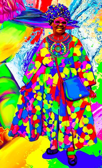 Очень красивое платье. - Чуть четче прорисовать детали (платье, лицо, головной убор)На сумке, лице, ботинках, одежде должно присутствовать по 7 цветов+каждый из этих элементов в разных стилях (прорисовка) Выглядит как мозаика? Да! Используйте для каждого элемента разные стили прорисовки и ни в коем случае не рисуйте в векторе (как, к примеру, прорисовано платье). Платье - отличный пример по цветам, но оно плоское, а нам нужно красивое и объемное, реалистичное. То есть нужно прорисовать детали, добавить тени, объем. Если Вы заметите, то в каждом элементе всей картины примерно похожие недочеты, которые мы хотели бы исправить.