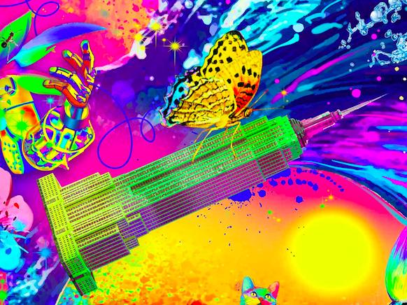 7 цветов и градация цвета. - Здание должно состоять из 7 цветов(14 процентов на каждый из цветов). Сама градация цветов должна быть как можно более частотна. Все, абсолютно все должно быть таким же красочным и ярким.Также, пожалуйста, не стоит использовать наши элементы, как, к примеру, бабочка. Она не участник данной картины.