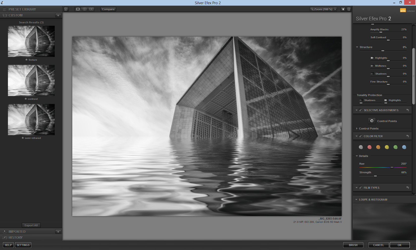 To finish off the image, I just added a little sharpening on the building.  A very simple process for a fun resutl.