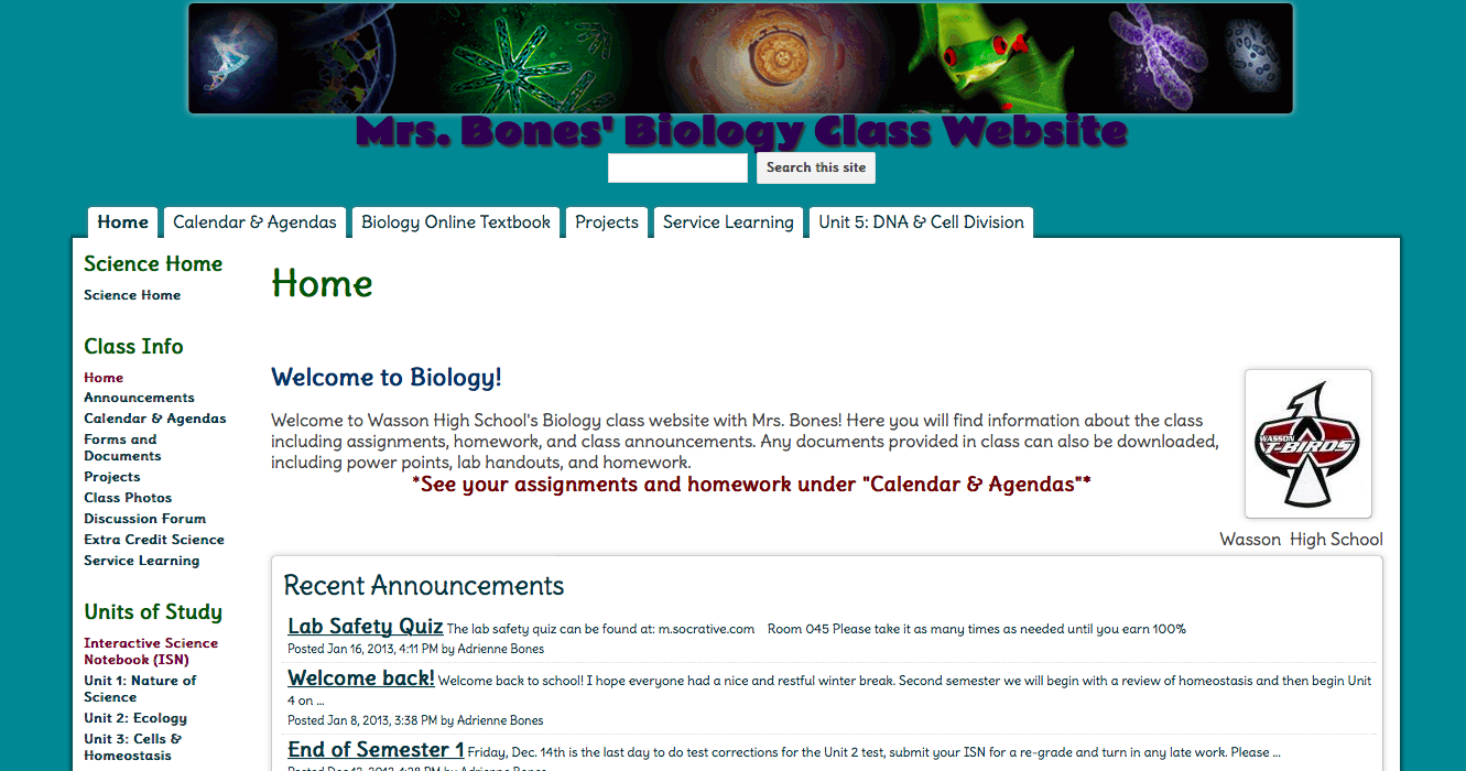 Mrs. Bones did a great job formatting and making her site engaging. Check it out!